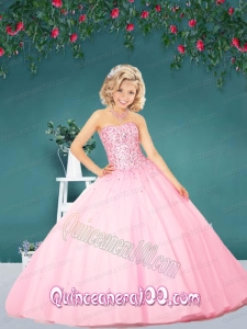 2014 The Super Hot Baby Pink Little Girl Pageant Dress with Beading