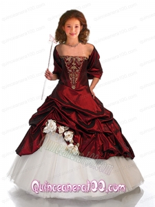 Beautiful Ball Gown Wine Red Little Girl Pageant Dress with Beading