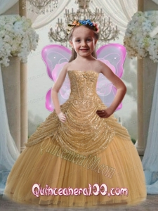 Discount Ball Gown Strapless Floor-length Gold Little Girl Pageant Dress