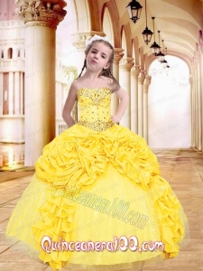 Luxurious Yellow Little Girl Pageant Dress with Beading and Pick-ups