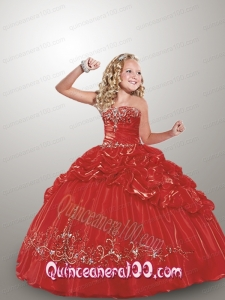 New Straps Red Little Girl Pageant Dress with Appliques and Pick-ups