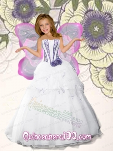 White Strapless Hand Made Flowers Organza Little Girl Pageant Dress