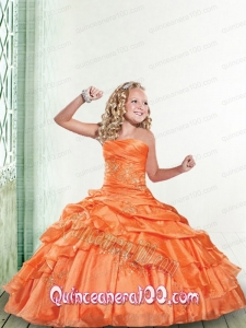 Wonderful Orange Little Girl Pageant Dress with Appliques and Ruffles for 2014