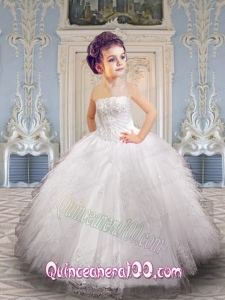 Wonderful White Little Girl Pageant Dress with Appliques and Ruffles for 2014