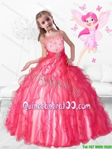 2016 Beautiful Beaded Little Girl Pageant Dresses with Ruffles