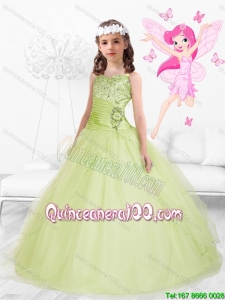 Beautiful 2016 Straps Beaded Little Girl Pageant Dresses in Yellow Green