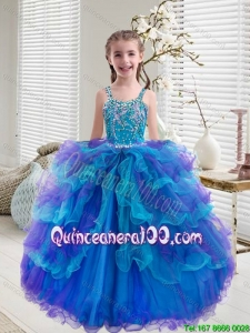 Comfortable Beaded and Ruffled Layers Little Girl Pageant Dresses in Multi Color