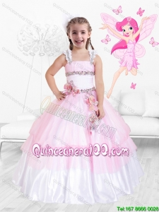 Fashionable Hand Made Flowers Little Girl Pageant Dresses with Beading