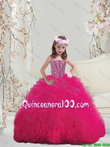 Lovely Spaghetti Hot Pink Little Girl Pageant Dresses with Beading and Ruffles