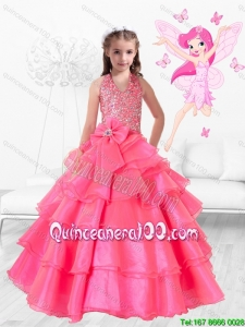 Perfect Hand Made Flowers Rose Pink Little Girl Pageant Dresses with Halter Top