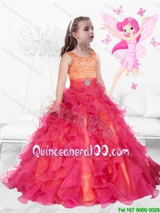 Perfect Scoop Lace Up Little Girl Pageant Dresses with Brush Train