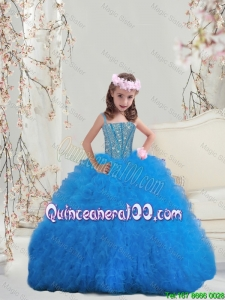 Perfect Spaghetti Little Girl Pageant Dresses with Beading and Ruffles