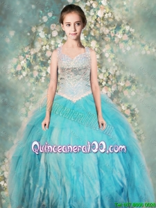 Perfect Straps Ball Gown Little Girl Pageant Dresses with Beading