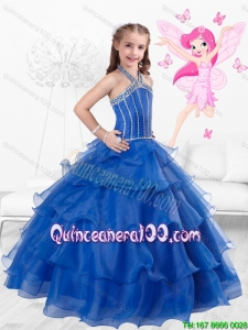 Popular Halter Top Little Girl Pageant Dresses with Ruffled Layers