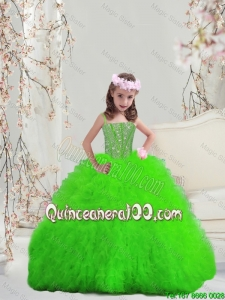 Suitable Spring Green Spaghetti Little Girl Pageant Dresses with Beading and Ruffles