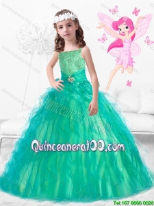 Wonderful Square Little Girl Pageant Dresses with Beading and Ruffles