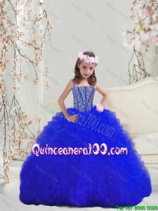 Fitting Beaded and Ruffles Royal Blue Mini Quinceanera Dresses with Spaghetti