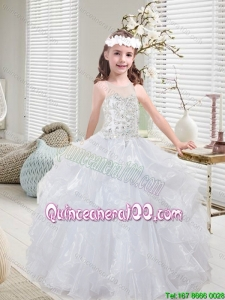 Latest White Little Girl Pageant Dresses with Beading and Ruffles
