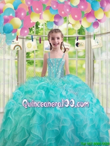 Lovely Aqua Blue Mini Quinceanera Dresses with Ruffles and Beading
