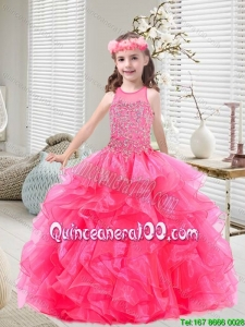 New Style Beaded and Ruffles Little Girl Pageant Dresses in Hot Pink