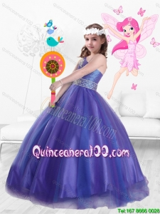 Popular One Shoulder Beaded Little Girl Pageant Dresses in Purple