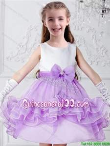 Pretty Bowknot Mini Length Multi Color Flower Girl Dresses with Scoop