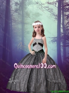 Pretty Straps Black Sequined Mini Quinceanera Dresses with Appliques