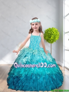 Simple Straps Mini Quinceanera Dresses with Beading and Ruffles