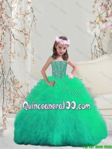 Sweet Spaghetti 2016 Mini Quinceanera Dresses with Beading and Ruffles