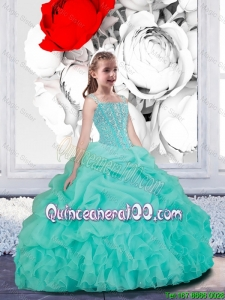 Lovely Straps Turquoise Organza Little Girl Pageant Dresses for 2016