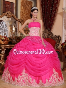 Appliqued Waist and Hem Hot Pink 2014 Quinceanera Dress with Pick ups