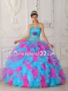 Blue and Pink Multi-color 2014 Quinceanera Dresses with Appliques and Flowers