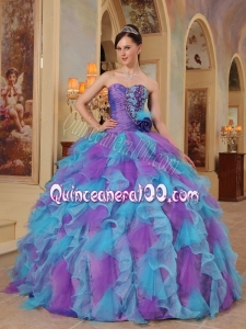 Purple and Aqua Blue Sweetheart Quinceanera Dresses with Ruffled