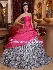 Unique Zebra Beaded Hot Pink Sweetheart Beaded Quinceanera Dress