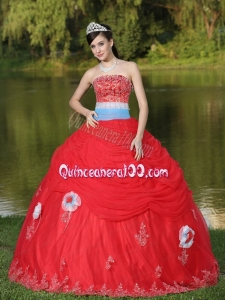 2014 Sash Decorate Appliques Red Strapless Ruffled Quinceanera Dresses