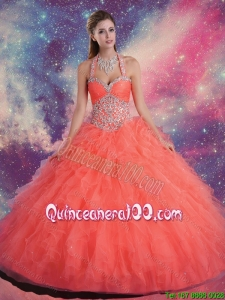 2015 Fashionable Halter Top Quinceanera Dresses with Beading and Ruffles