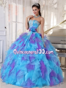 2014 Baby Blue and Purple Strapless Appliques Quinceanera Dress with Ruffles