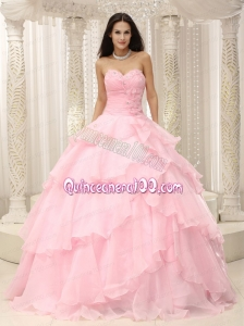 Baby Pink Ruched 2014 Pretty Quinceanera Dress with Sweetheart