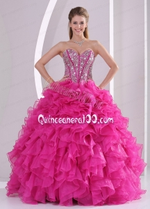 Hot Pink Beads Decorate 2014 Quinceanera Dresses with Ruffles in Sweet 16