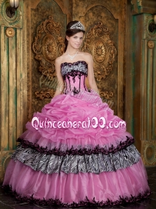 Rose Pink Taffeta and Organza Quince Dresses with Pick Ups