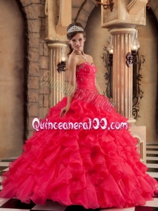 2014 Coral Red Strapless Beading Appliques Ruffled Quinceanera Dress