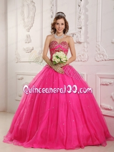 2014 Hot Pink Sweetheart Tulle Sweet 16 Dresses with Beading Hot Sale