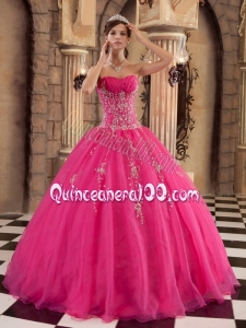2014 Hot Sale Hot Pink Ball Gown Beading Quinceanera Dress