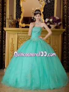2014 Turquoise Ball Gown Strapless Organza Beading Quinceanera Dress with Beading