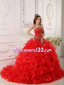 Red Strapless Organza Ruffles And Embroidery Quinceanera Dresses