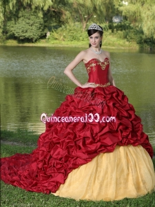 Exquisite Style For 2014 Quinceanera Dress with Wine Red Brush Train