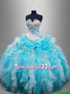 Beautiful Strapless Beading and Ruffles Quinceanera Gowns in Organza for 2016