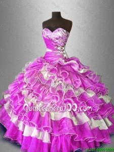 Discount Beaded and Ruffles Sweet 16 Gowns in Multi Color for 2016