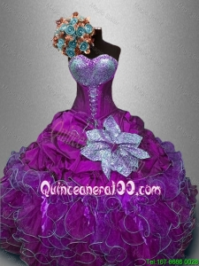 New Style Sweetheart Quinceanera Gowns with Sequins for 2016