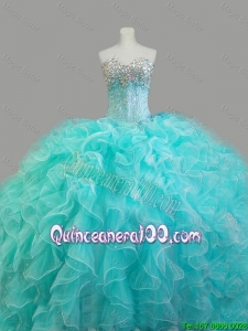 Summer Elegant Beaded Sweetheart Quinceanera Dresses in Aqua Blue